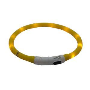 Светящийся ошейник силиконовый с USB зарядкой желтый