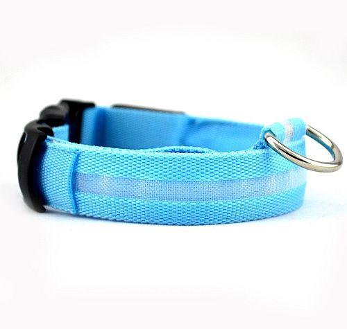 Светящийся ошейник для собак с USB зарядкой голубой