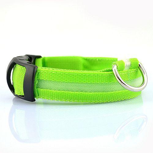 Светящийся ошейник для собак с USB зарядкой зеленый