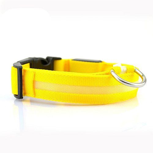 Светящийся ошейник для собак с USB зарядкой желтый