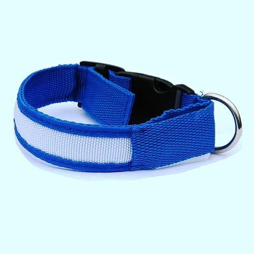 Светящийся ошейник для собак синий с USB зарядкой