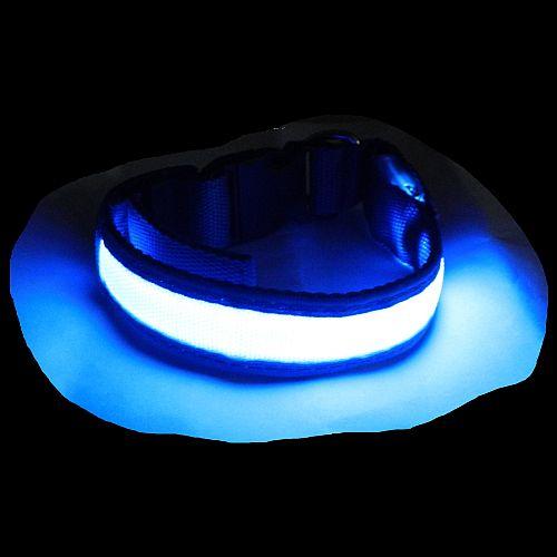 Светящийся ошейник для собак синий с USB зарядкой Свечение