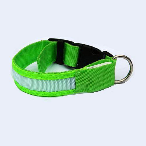 Светящийся ошейник для собак зеленый с USB зарядкой
