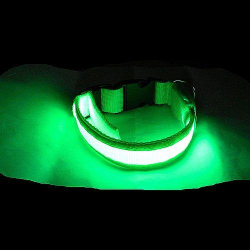 Светящийся ошейник для собак зеленый с USB зарядкой Свечение