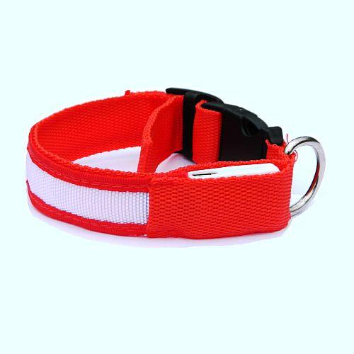 Светящийся ошейник для собак красный с USB зарядкой