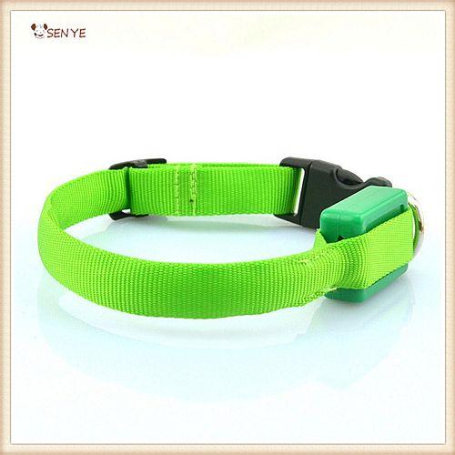 Светящийся ошейник для очень маленьких собак ширина 1,5 см зеленый