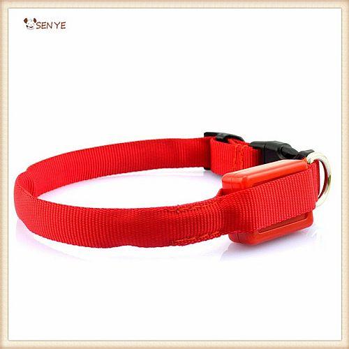 Светящийся ошейник для очень маленьких собак ширина 1,5 см красный