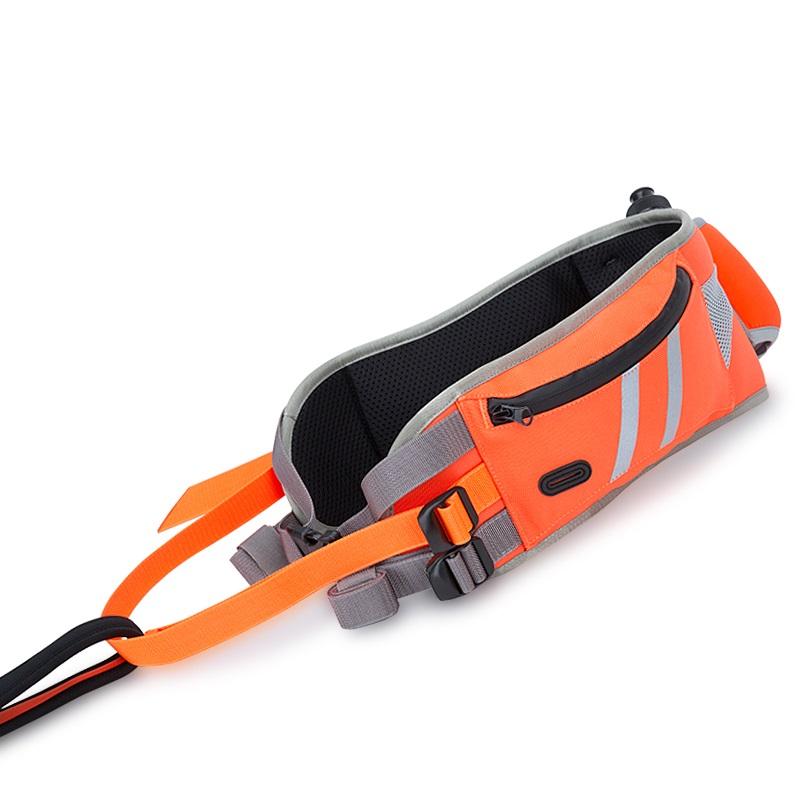 Пояс для бега с собакой оранжевый карманом и питьевой системой. Truelove