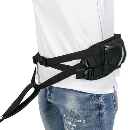 Пояс для скиджоринга черный с карманом и питьевой системой. Truelove