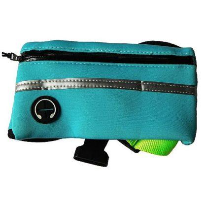 Поводок с сумкой для бега с собакой бирюзовый