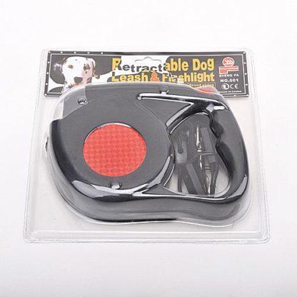 Рулетка для собак R733 5 метров с фонариком черная