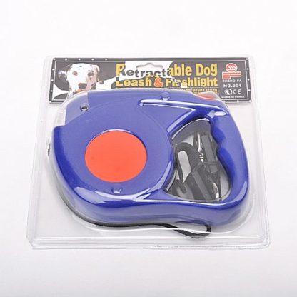 Рулетка для собак R733 5 метров с фонариком синяя