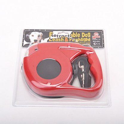 Рулетка для собак R733 5 метров с фонариком красная