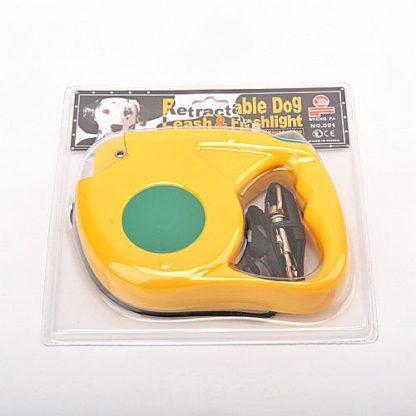 Рулетка для собак R733 5 метров с фонариком желтая