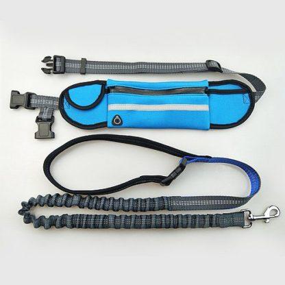 Поводок для бега с собакой синий с карманом под телефон