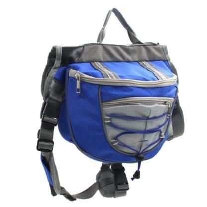 Сумка рюкзак на спину собаке для походов синяя