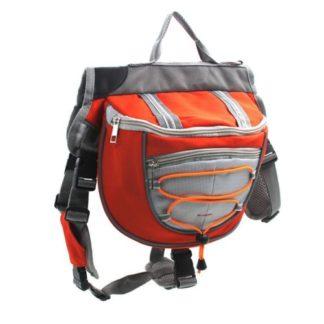 Сумка рюкзак на спину собаке для походов красная