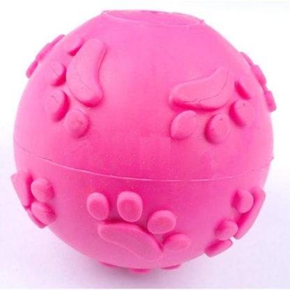 Резиновый мячик с пищалкой для собак розовый