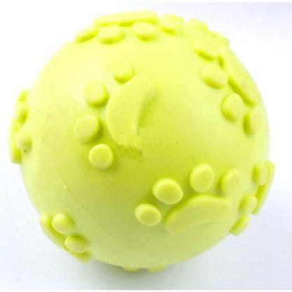 Резиновый мячик с пищалкой для собак желтый