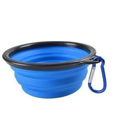 Складная миска для собак синяя