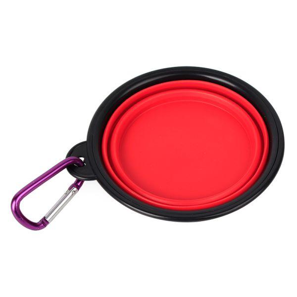 Складная силиконовая миска для собак красная