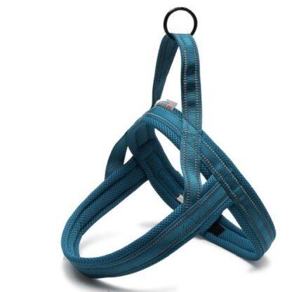 Шлейка для собак светоотражающая синяя