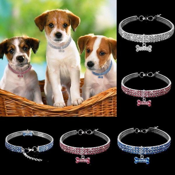 Ошейник ожерелье для собак белый синий розовый