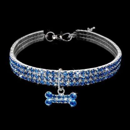 Украшение ошейник-ожерелье для собаки голубой хрусталь