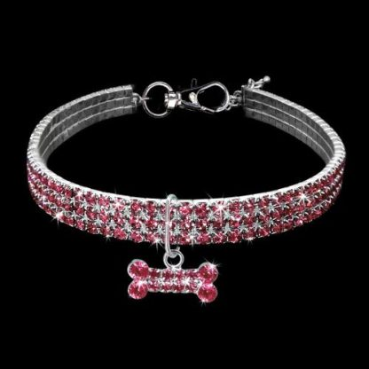 Украшение ошейник-ожерелье для собаки розовый хрусталь