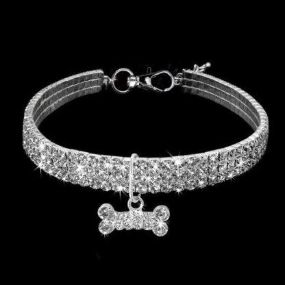 Украшение ошейник-ожерелье для собаки белый хрусталь