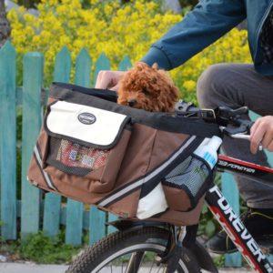 Сумка для перевозки собак на велосипеде с собакой