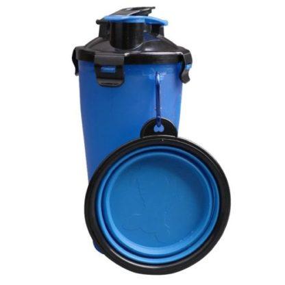 Походная бутылка для корма и воды для собаки синяя