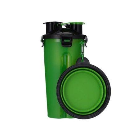 Походная бутылка для корма и воды для собаки зеленая