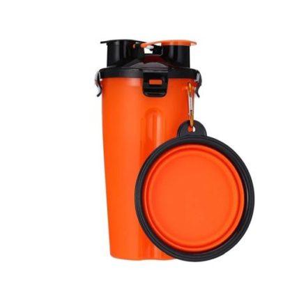 Походная бутылка для корма и воды для собаки оранжевая