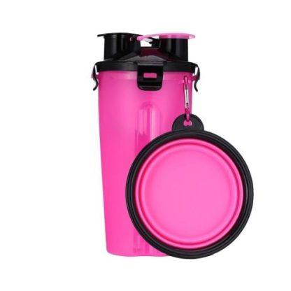 Походная бутылка для корма и воды для собаки розовая