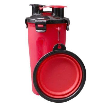 Походная бутылка для корма и воды для собаки красная