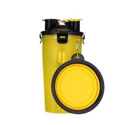 Походная бутылка для корма и воды для собаки желтая