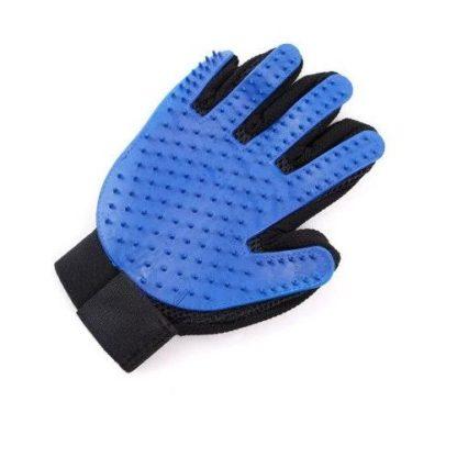 Силиконовая перчатка для груминга и мойки собак синяя