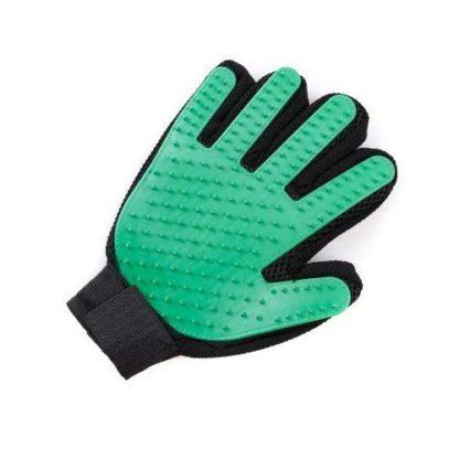 Силиконовая перчатка для груминга и мойки собак зеленая