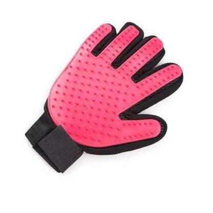 Силиконовая перчатка для груминга и мойки собак красная