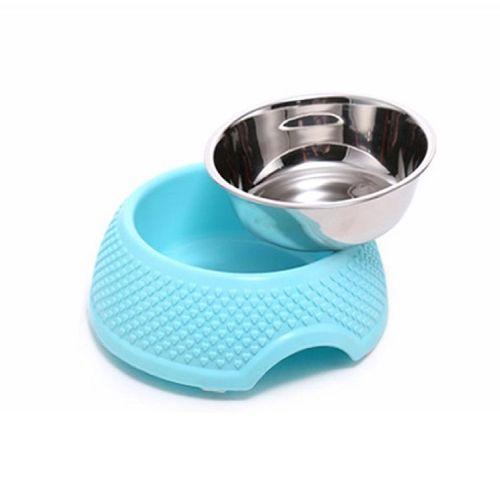 Миска для собаки пластиковая с металлической вставкой комбинированная