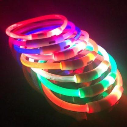 Светящийся силиконовый ошейник для собак. Сплошное свечение