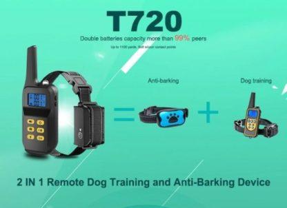 Ошейник для дрессировки собак электронный с антилаем T720 два в одном