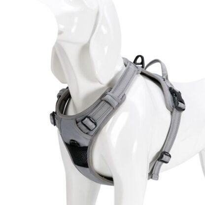 Шлейка для собак с мягкой грудью и спинкой серая