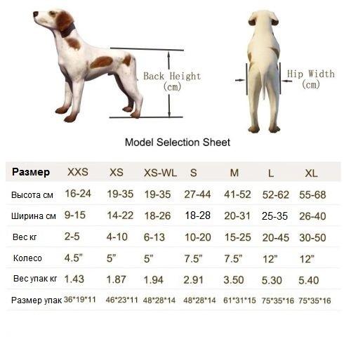 Инвалидная коляска для собак размеры